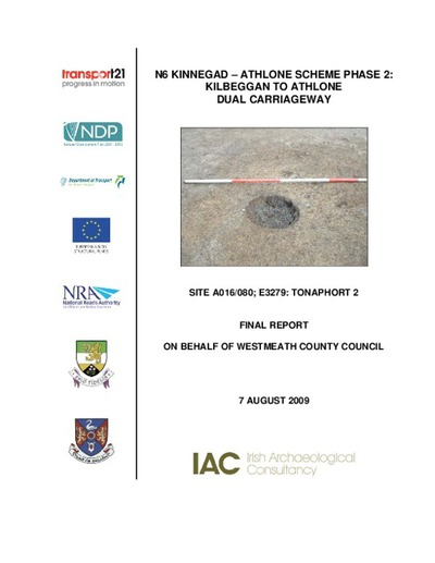 Archaeological excavation report,  E3279 Tonaphort 2,  County Westmeath.
