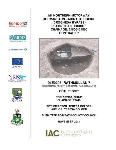 Archaeological excavation report, 01E0295 Rathmullan 7, County Meath.