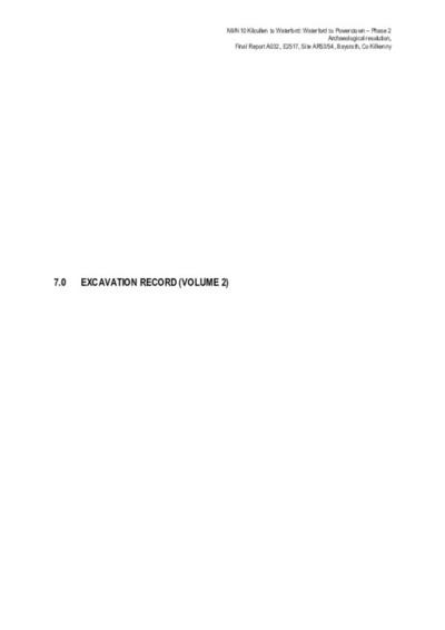 Archaeological excavation report,  E2517 Baysrath AR53-54 Vol 2,  County Kilkenny.