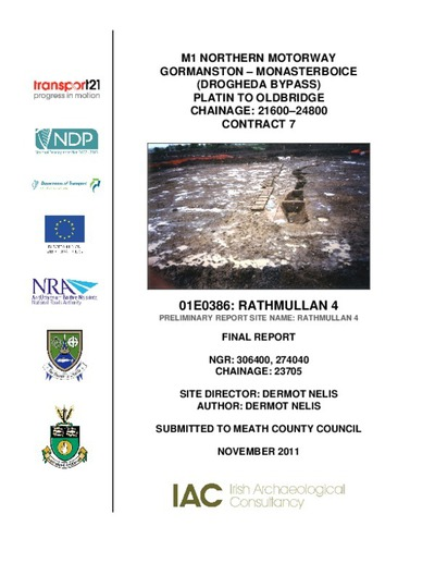 Archaeological excavation report, 01E0386 Rathmullan 4, County Meath.