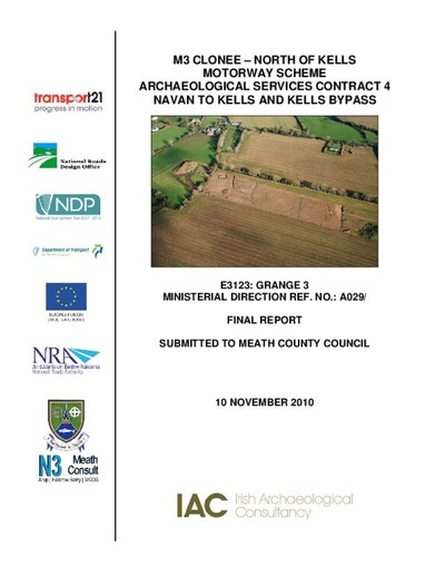 Archaeological excavation report,  E3123 Grange 3,  County Meath.