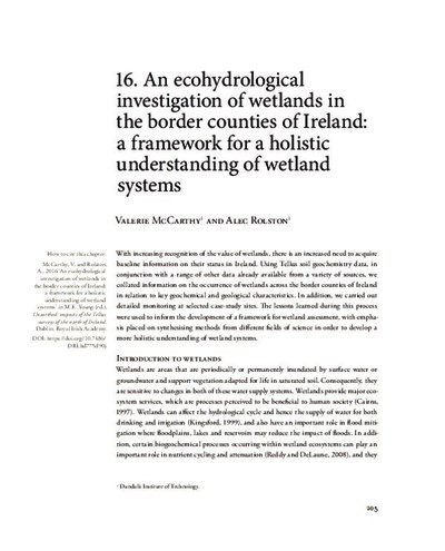 16. An ecohydrological investigation of wetlands in the border counties of Ireland: a framework for a holistic understanding of wetland systems