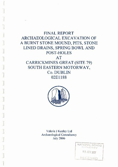 Archaeological excavation report,  02E1188 Site 79 Carrickmines Great,  County Dublin.