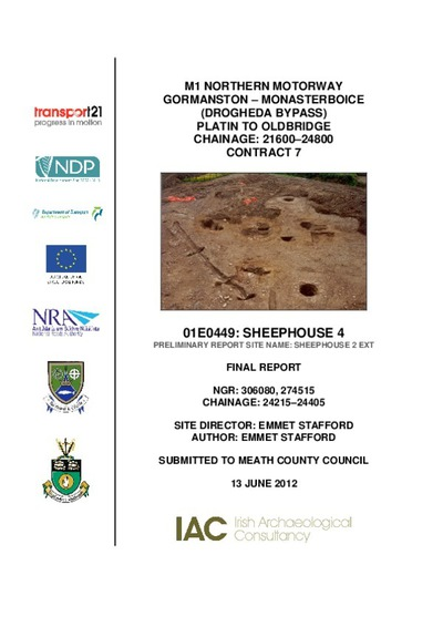 Archaeological excavation report, 01E0449 Sheephouse 4, County Meath.