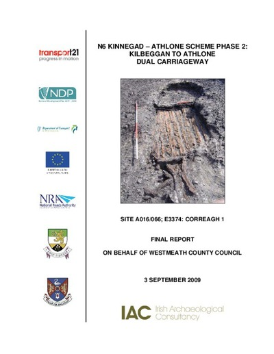 Archaeological excavation report,  E3374 Correagh 1,  County Westmeath.