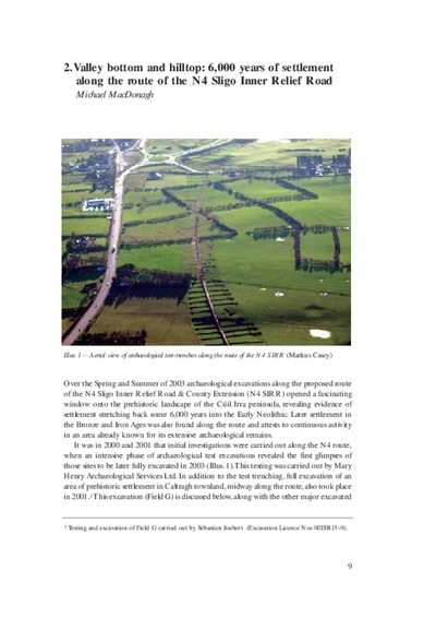 Valley bottom and hilltop: 6,000 years of settlement along the route of the N4 Sligo Inner Relief Road by Michael MacDonagh