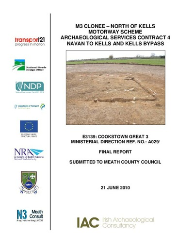 Archaeological excavation report,  E3139 Cookstown Great 3,  County Meath.