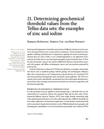 21. Determining geochemical threshold values from the Tellus data sets: the examples of zinc and iodine