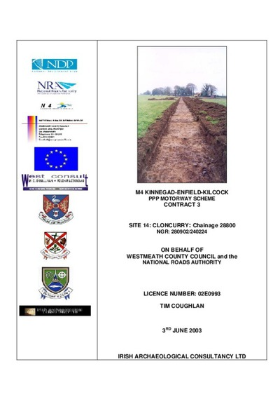 Archaeological excavation report,  02E0993 Cloncurry Site 14, County Kildare.