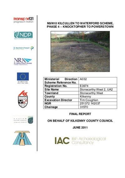 Archaeological excavation report,  E3916 Jordanstown 3,  County Kilkenny.