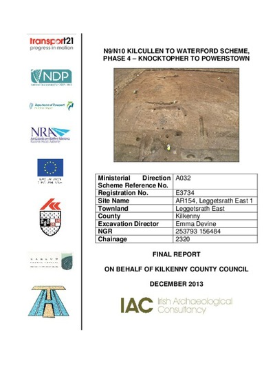 Archaeological excavation report,  E3733 Tomard Lower 1,  County Kilkenny.