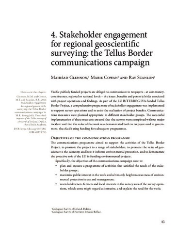 4. Stakeholder engagement for regional geoscientific surveying: the Tellus Border communications campaign