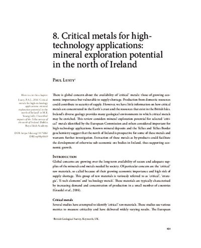 8. Critical metals for hightechnology applications: mineral exploration potential in the north of Ireland