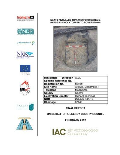 Archaeological excavation report,  E3834 Jordanstown 1,  County Kilkenny.