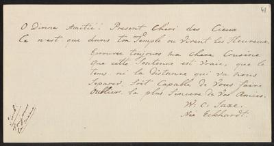 Albumbijdrage in het album amicorum van Elisabeth Constantia Sophia Roëll door W.C. Saxe-Eckhardt