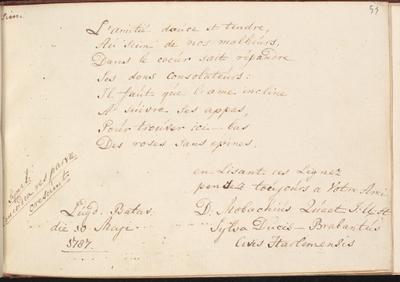 Albumbijdrage in het album amicorum van Jan Gijsbert Thierry de Bye door D. Nobachius Quaet