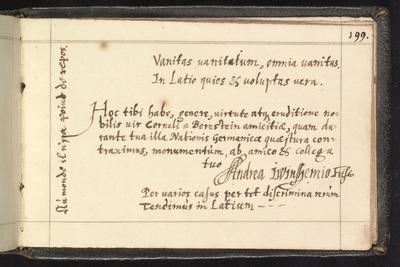 Albumbijdrage in het album amicorum van Cornelis van Beresteyn door Andreas Winshemius, secretaris van Groningen