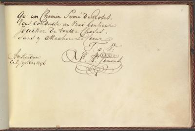 Albumbijdrage in het album amicorum van Remy door J.A.Simons