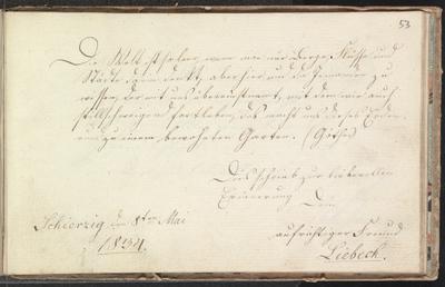Albuminscriptie van Liebeck, in het album amicorum van F.W. Jagow