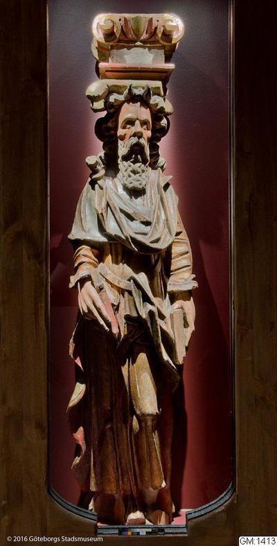 träskulptur, skulpturer, kyrkliga inventarier, apostlafigur, apostle, sculpture