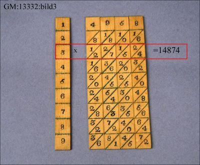 räknestav, räknehjälpmedel, matematik, Napiers räknestavar