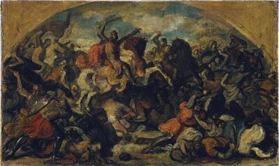 Friedrich II. der Streitbare (1219–1246) als Sieger über die Mongolen in der Schlacht an der Leitha bei Wiener Neustadt am 15. Juni 1246