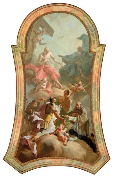 Die Heilige Dreifaltigkeit mit den Heiligen Rochus, Florian, Sebastian und Johannes von Nepomuk