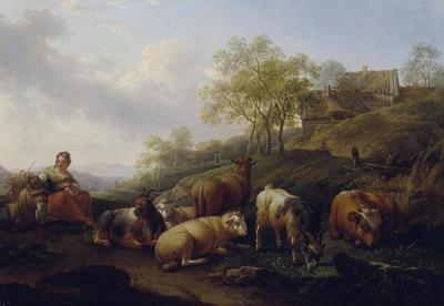 Landschaft mit weidendem Vieh