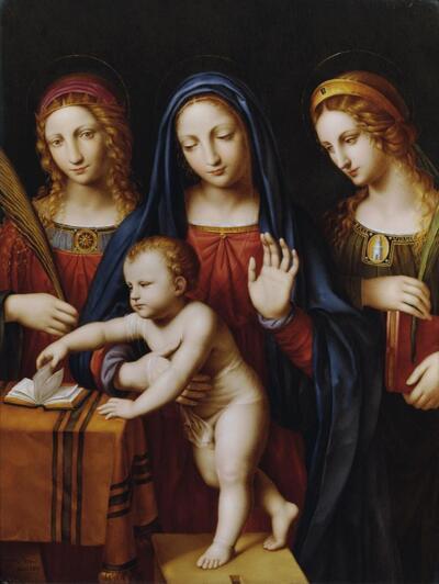 Madonna mit Jesuskind, Hl. Katharina und Hl. Barbara