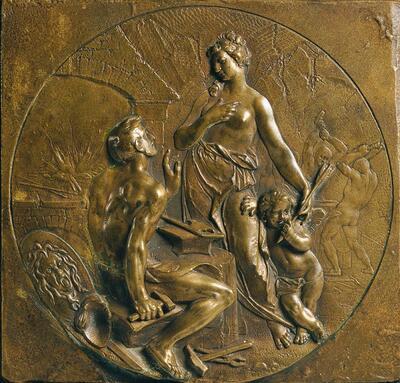 Venus mit Amor in der Schmiede des Vulkan