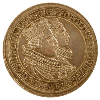 Doppeltaler auf die Hochzeit Erzherzog Leopolds V. von Tirol mit Claudia von Medici im Jahr 1626