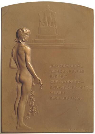 Plakette auf die Enthüllung des Denkmals für Johann Wolfgang von Goethe von Edmund Hellmer am Wiener Opernring, 15. Dezember 1900