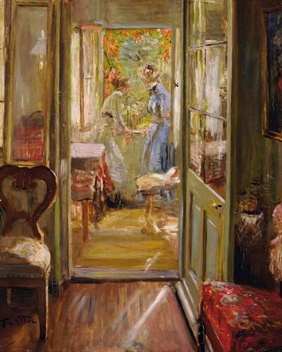 Die Töchter des Künstlers in der Veranda