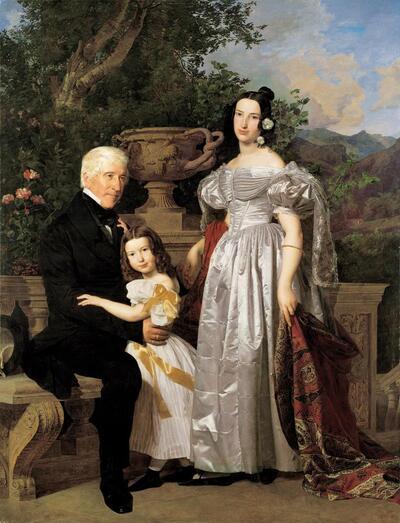 Der fürstlich Esterházy'sche Rat Mathias Kerzmann mit seiner zweiten Gattin Maria Helena, geb. Mikolischütz, und Tochter Maria
