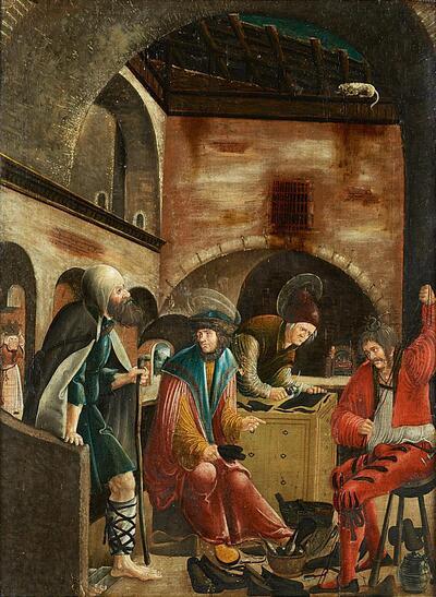 Die Heiligen Crispinus und Crispinianus in ihrer Schusterwerkstatt