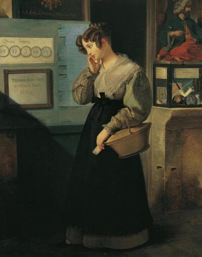 Mädchen vor dem Lotteriegewölbe
