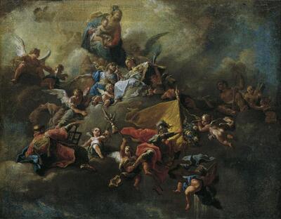 Maria mit dem Kind und Heiligen, auf Wolken thronend