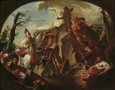 Der heilige Cassian von Imola stürzt die Statue des Pluto auf Säben
