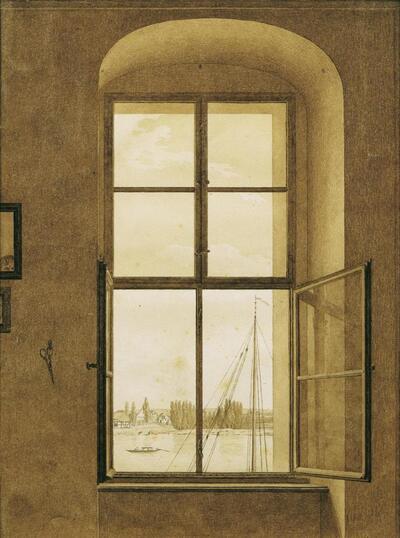 Blick aus dem Atelier des Künstlers (rechtes Fenster)