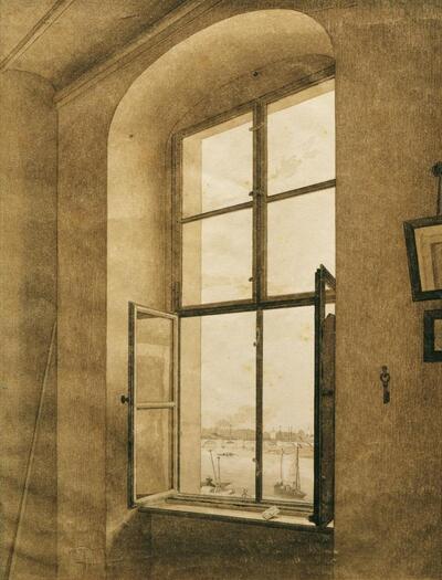 Blick aus dem Atelier des Künstlers in Dresden auf die Elbe (linkes Fenster)