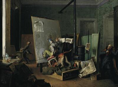 Komische Szene im Atelier