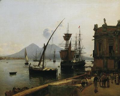 Der Hafen von Neapel mit Vesuv
