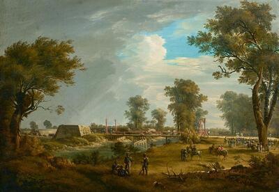 Szene aus den Napoleonischen Kriegen: Der französische Rückzug aus der Lobau und der verwundete Marschall Jean Lannes (Duc de Montebello)