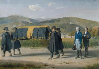 Kaiser Franz I. von Österreich folgt dem Sarg eines Armen