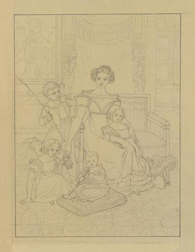 Konturzeichnung einer Mutter mit vier Kindern