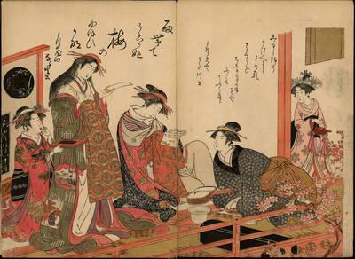 Kurtisane Utagawa und Nanasato aus dem Haus Yotsume (Yotsumeya Utagawa, Nanasato よつめや うた川 なな里)