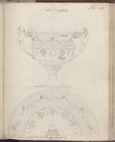 [Entwurf eines Henkelgefäßes mit Unterteller mit Dekor] (vom Bearbeiter vergebener Titel)