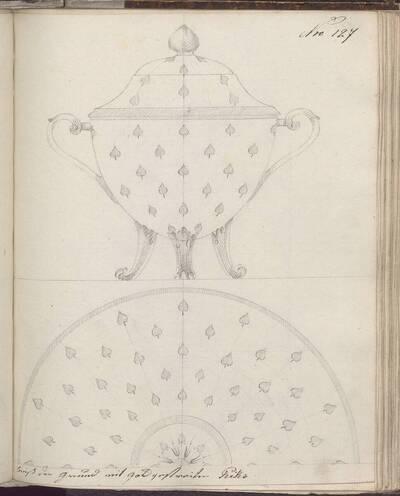 [Entwurf eines Deckelgefäßes mit Dekor] (vom Bearbeiter vergebener Titel)