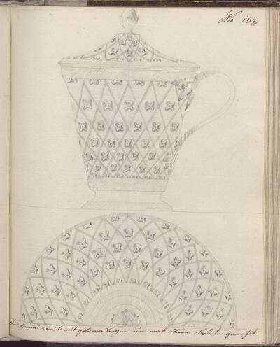 [Entwurf einer Tasse mit Deckel und Untertasse mit Dekor] (vom Bearbeiter vergebener Titel)