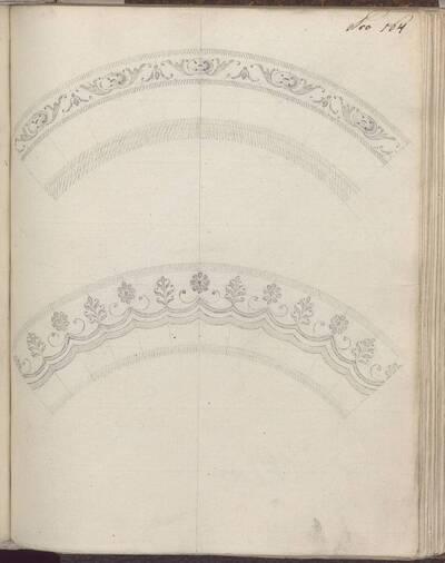 [Entwurf zweier Tellersegmente mit Dekor] (vom Bearbeiter vergebener Titel)